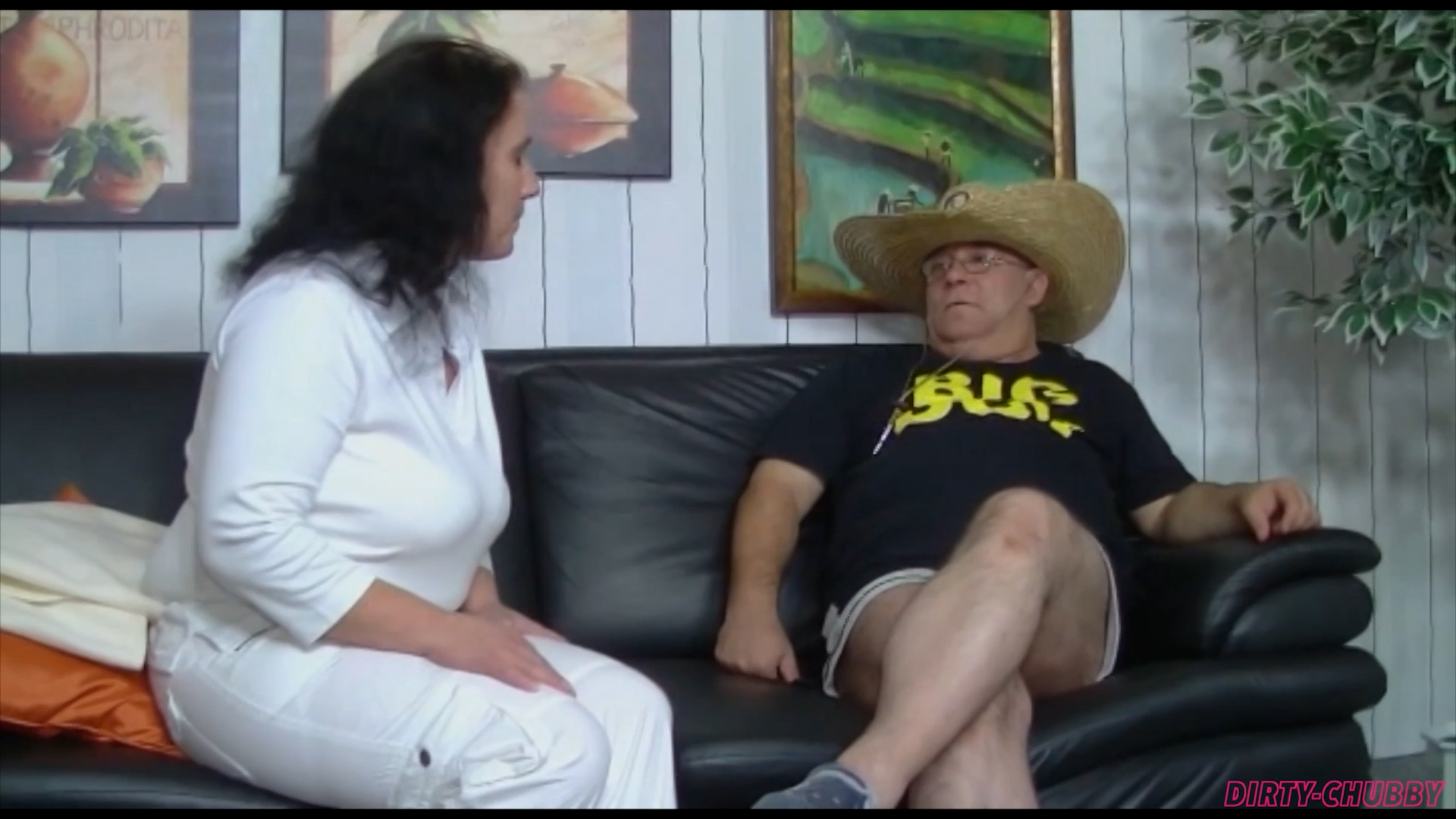 Chubby mature slut rides and suck old cock